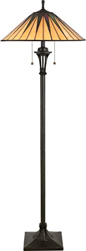 Quoizel TF9397VB Gotham Tiffany Floor Lamp, 2-Light, 200 Watts, Vintage Bronze 62 H x 20 W