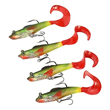 Bait 5pcs Tackle Soft Jig Hot Fishing Soft Silicone Lure Hook 14g//8cm Head Lead