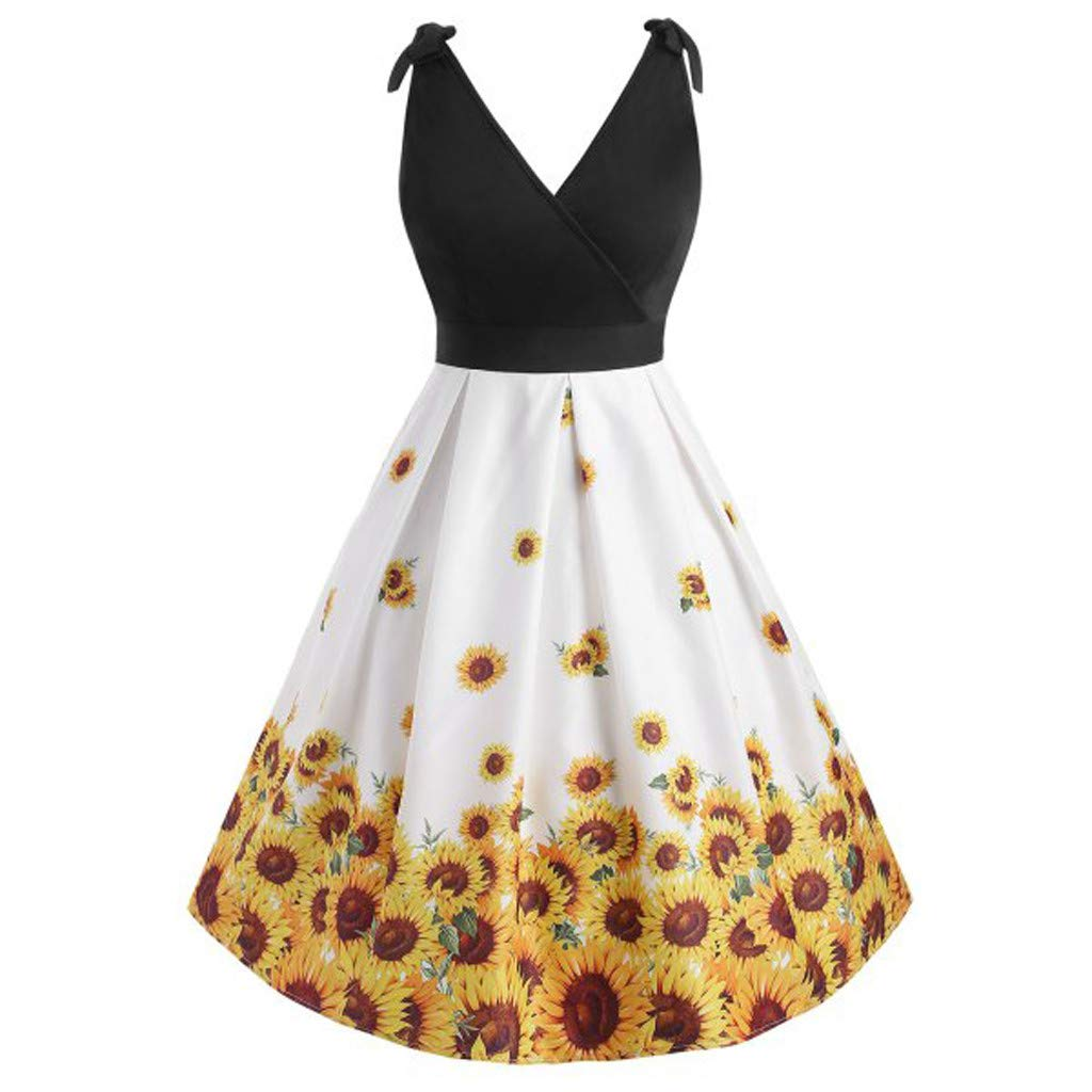 Benficial Women's Plus Size V-Neck Sunflower Print Stitching Sleeveless Back Dress 2019 Summer Black by Benficial