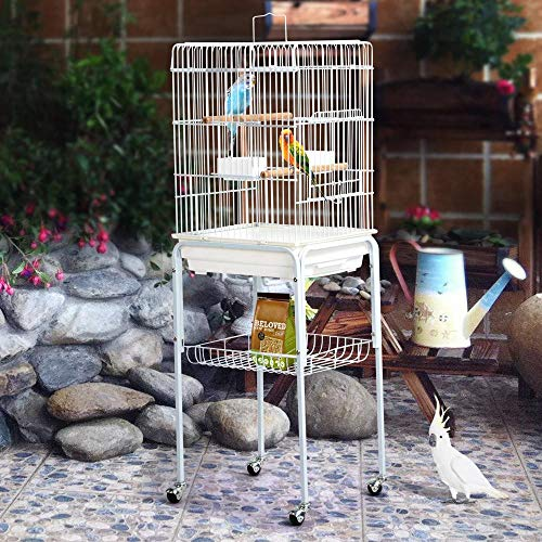 Yaheetech 47 Iron Rolling Small Bird Cage for Caique Quaker Monk Indian Ring Neck Mid-Sized Parrots Cockatiels Sun Parakeets Green Cheek Conures Pet Bird Cage with Detachable Stand, White
