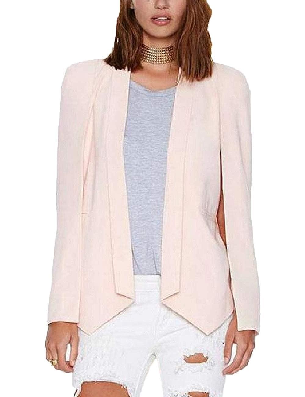 48b72564943 Lrud Women Open Front Cape Blazer Coat Tailored Cardigan Boyfriend Suit  Jacket  Amazon.co.uk  Clothing