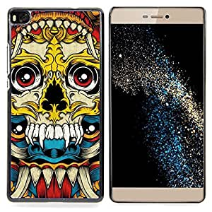 - Vampire Fang Acid Trip Yellow Skull - - Snap-On Rugged Hard Cover Case Funny HouseFOR HUAWEI P8