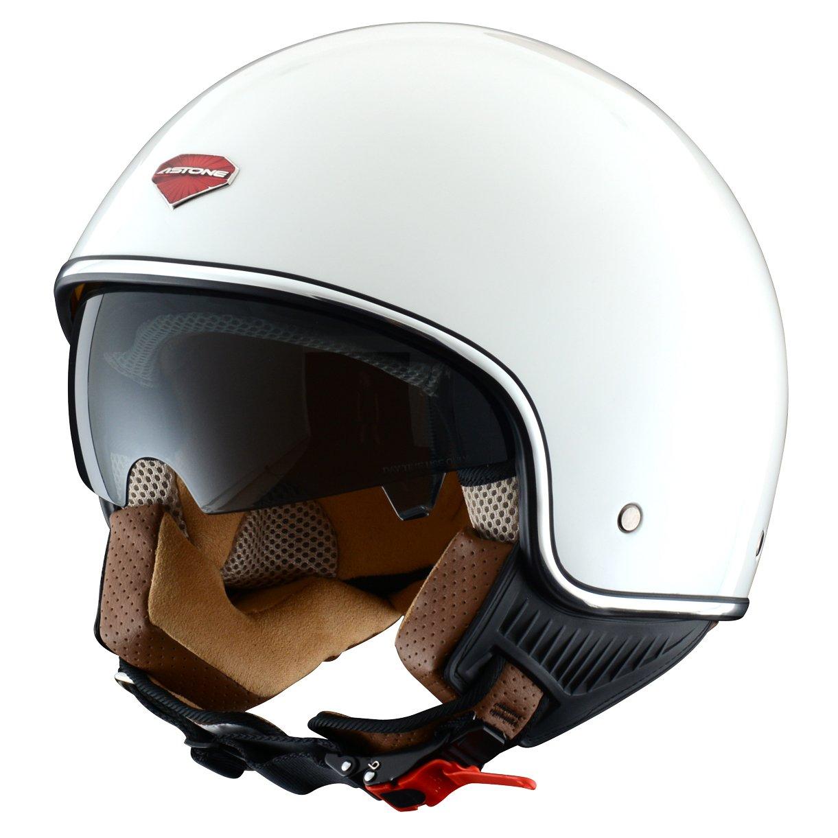 Astone Helmets Jethelm Mini Retro, Weiß (Gloss White), M Aixstream Sport Trading MINIRETRO-WHM