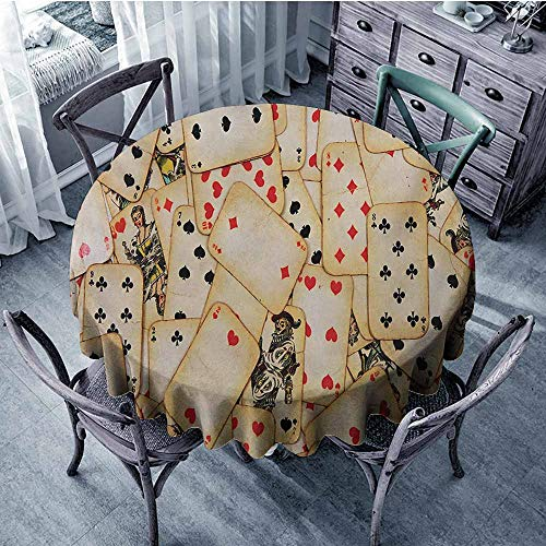 Mahogany Finish Beige Marble - Casino Natural Tablecloth Old Playing Cards Themed Vintage Classic Style Entertaining Wealth Fortune Perfect for Dinner 70
