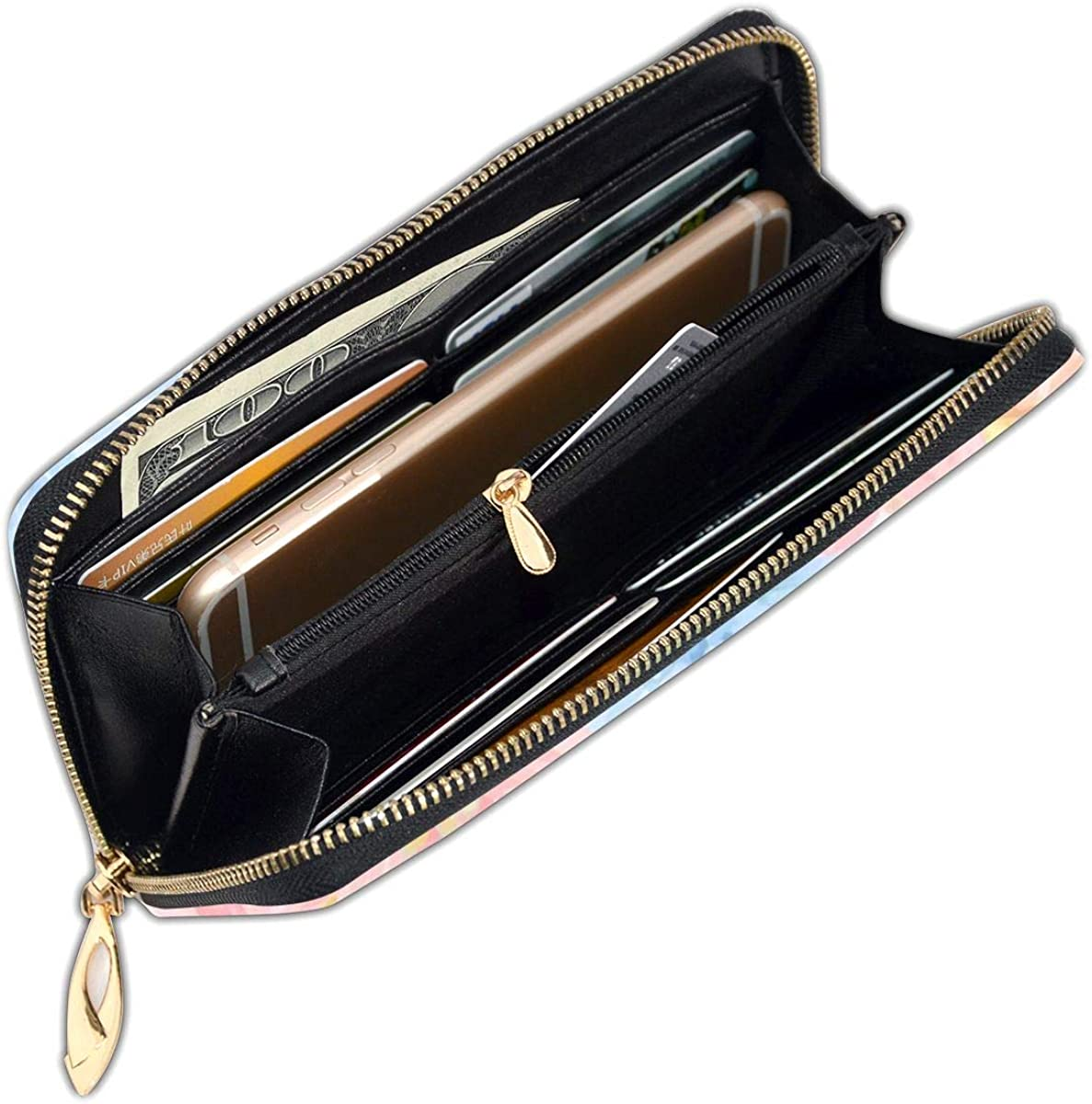 FeiHuang Banana Leaf Elegant Flower Genuine Leather Girl Zipper Wallets Clutch Coin Card Phone Purse For Women