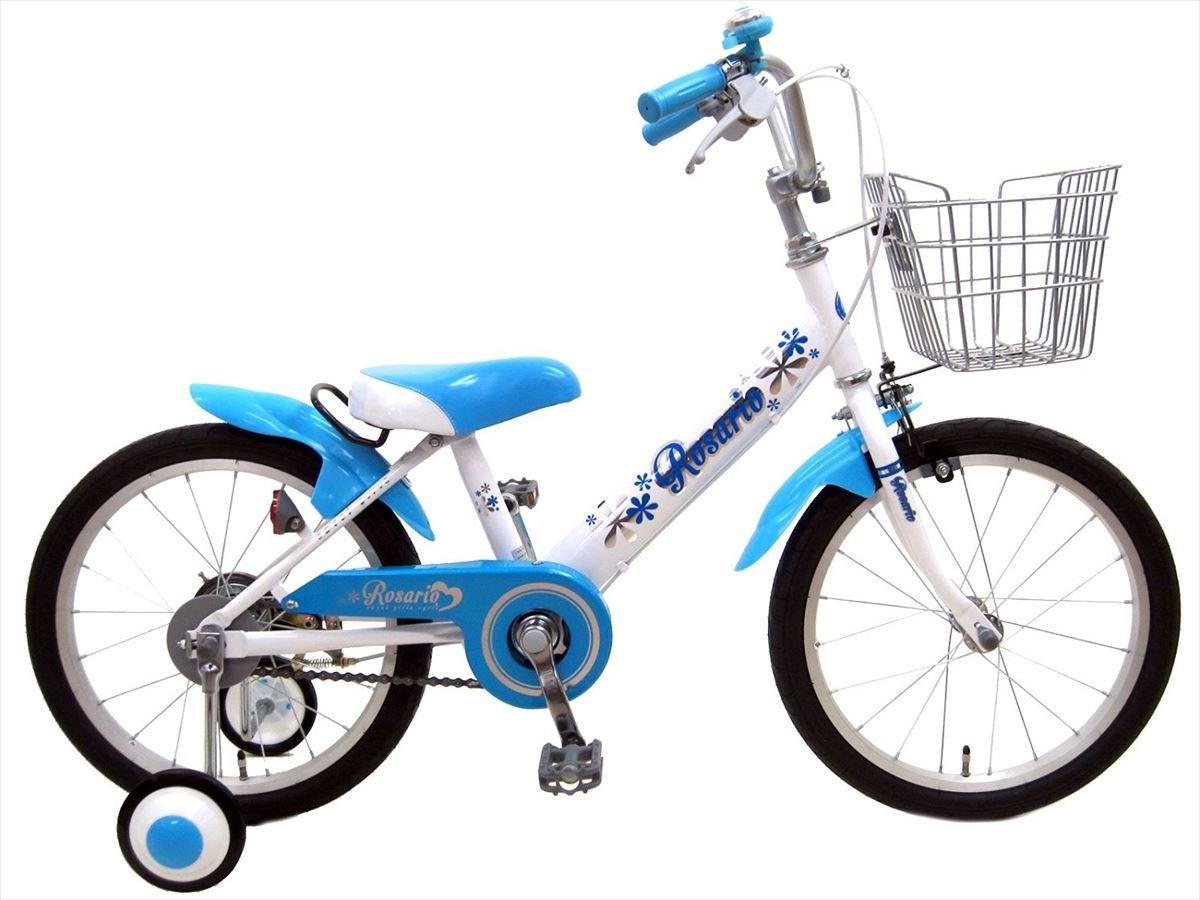 【組立済み】 ロサリオ(ROSARIO) 補助輪付き 幼児用自転車 B01M2C3KKI 18インチ|ホワイトブルー ホワイトブルー 18インチ