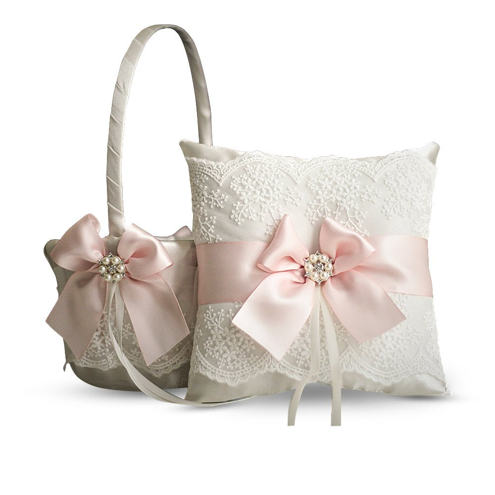 Alex Emotions Ivory Ring Bearer Pillow and Basket Set | Lace Collection | Flower Girl & Welcome Basket for Guest | Handmade Wedding Baskets & Pillows (Blush Pink) by Alex Emotions