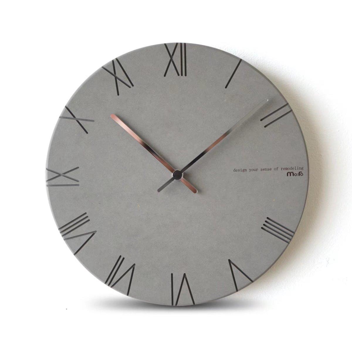 OSONA 欧式 ファッション 彫り 石英時計 シンプル デザイン 壁時計 壁掛け ホーム おしゃれ 掛け時計 デジタル インテリア 客間 無音 電池式 静音 wall clock リビング グレー B0719TMM7Jグレー