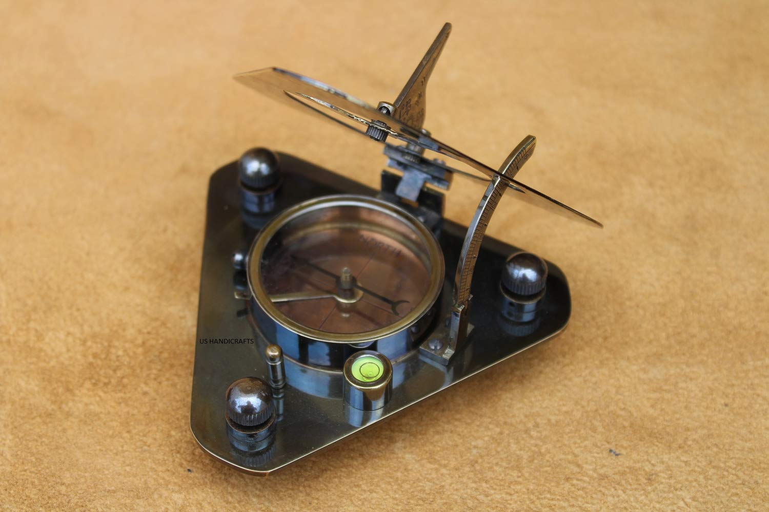 US Handicrafts History Brass Triangle Sundial Compass in Hardwood Box. by US Handicrafts (Image #4)