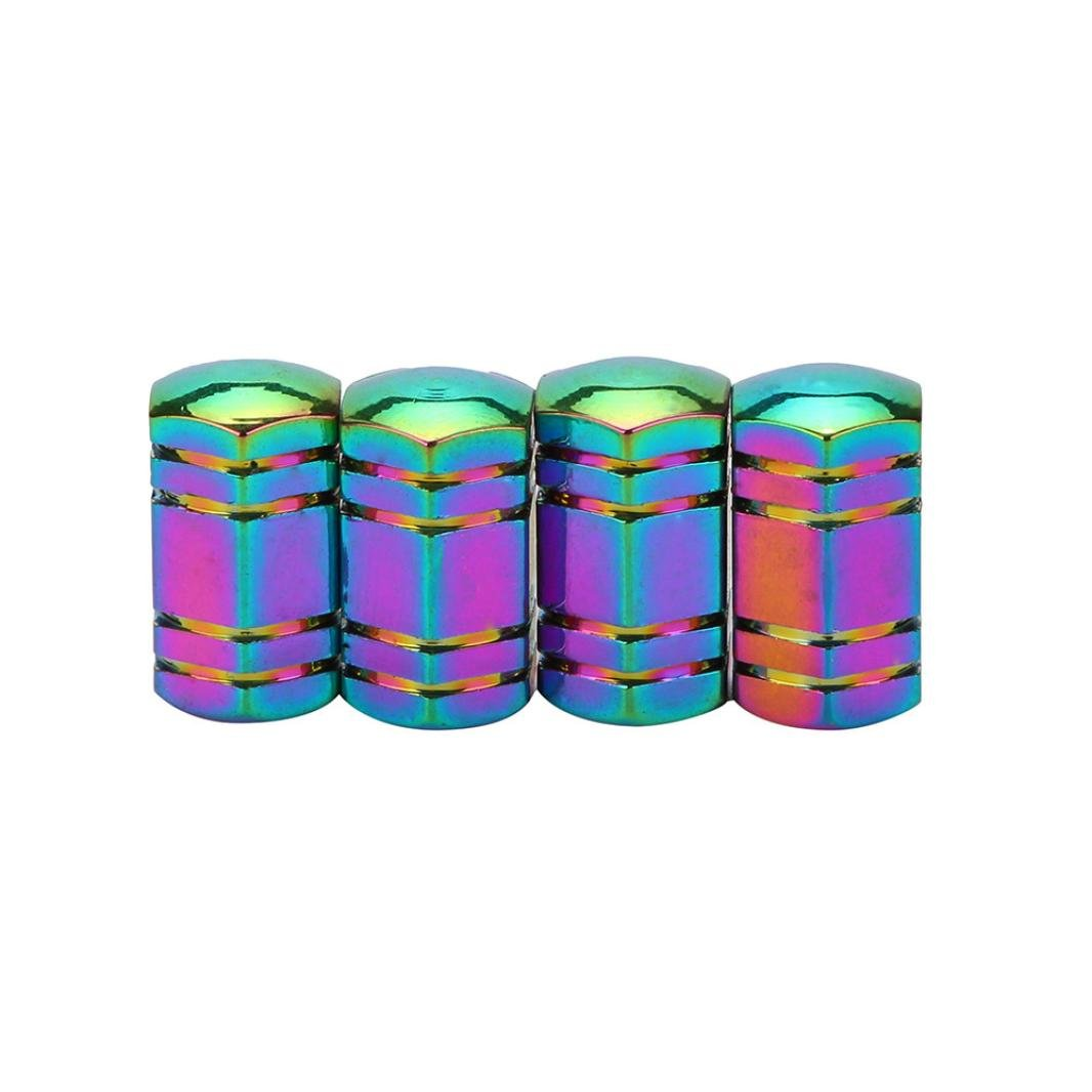 Elevin(TM)Set of 4,New Fashion Multicolor Bike Aluminum Bullet Style Truck Wheel Tire Valve Stem Caps Dust Covers American Style Presta Valve Cap (C)