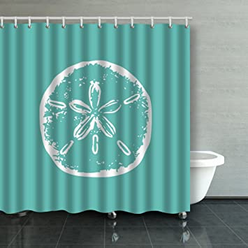 Bon Family Unique Decorative Custom Xmas Shower Curtains Turquoise Sand Dollar  Beach Decor Waterproof Polyester Fabric Home