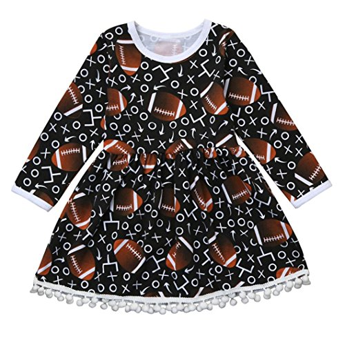 Elevin(TM) Toddler Kids Baby Girls Football Print Tassel Long Sleeve Princess Dress Outfits (Black, 4T) (Overlay Onesie Dress)