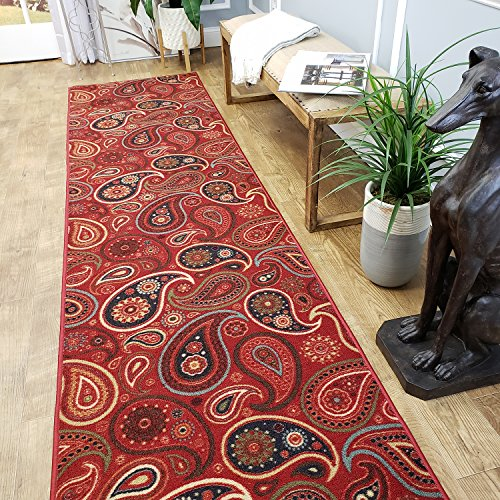 CUSTOM CUT 22-inch Wide by 3-feet Long Runner, Red Paisley Floral Non Slip, Non-Skid, Rubber Backed Stair, Hallway, Kitchen, Carpet Runner Rug - Choose your Width by Length