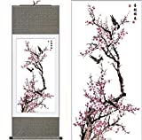 "MODEBESO(TM) Silk Chinese Painting plum blossom Home Decorate Calligraphy Scroll Hanging Art Gift (H40"" X W12"") 40016"