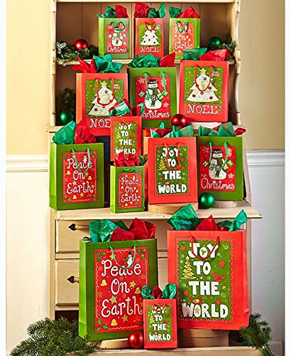 The Lakeside Collection 42-Pc. Designer Holiday Cheer Gift Bag Sets - Giant Paper Bag Costume