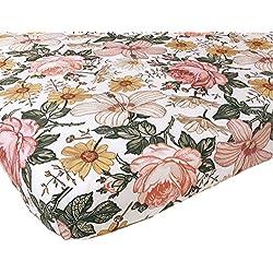 Woven Cotton Crib Sheet - Baby Girl (Garden Floral Crib Sheet)