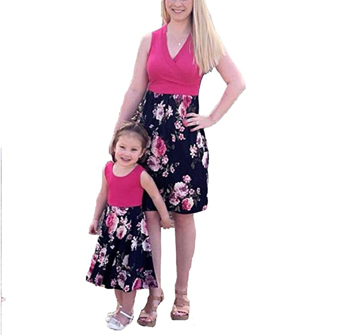 4ccf88aedef3 Mother Daughter Midi Dress V Neck Sleeveless Floral Dress Ruffle ...