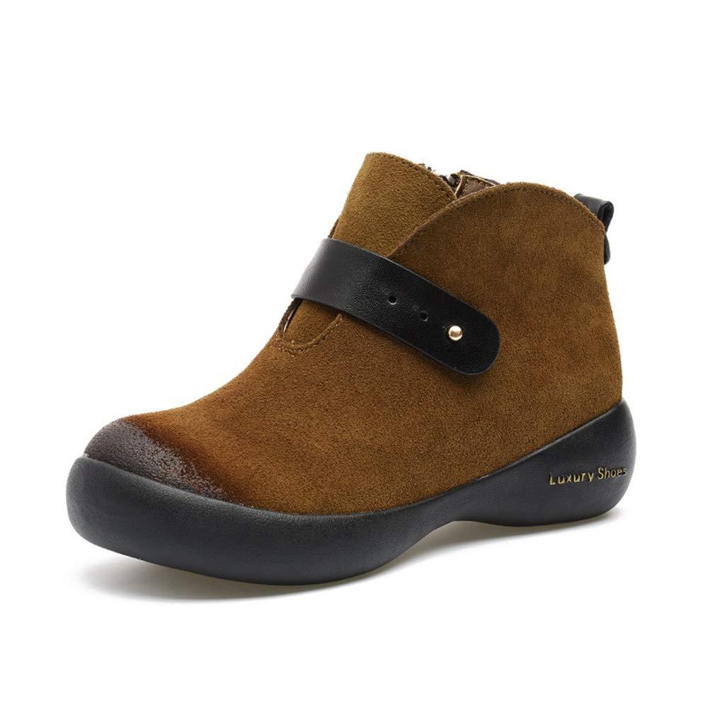 YAN Damen Freizeitschuhe Winter New Low-Top Schuhe Dicke Unterseite Runde Kopf Lederstiefel Outdoor Wanderschuhe Warme Schuhe Schwarz Braun