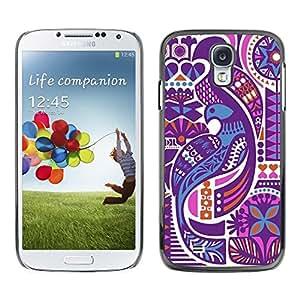 FECELL CITY // Duro Aluminio Pegatina PC Caso decorativo Funda Carcasa de Protección para Samsung Galaxy S4 I9500 // White High Contrast Art Abstract