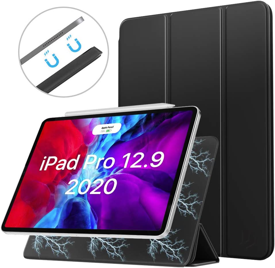 Dadanism Strong Magnetic Case for iPad Pro 12.9 inch 2020 4th Generation, Smart Folio Cover, Slim Lightweight Trifold Stand Case, Support Apple Pencil Pair & Charging, Auto Wake/Sleep - Black