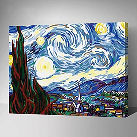MADE4U Paint By Numbers Kits Canvas Mounted on Wood Frame with Brushes and Paints for Adults Children Seniors Junior DIY Beginner Level Acrylics Painting Kits on Canvas (Van Gogh - Sky) by (Acrylic Paint Van Gogh)
