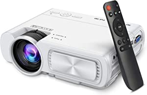 Mini Projector,SeeYing 4500Lux Portable Projector,1080P and 200'' Display Supported,Compatible with TV Stick,HDMI,VGA,USB,TV,Laptop,DVD (T5-White)