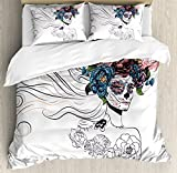 Gothic Decor Queen Size Duvet Cover Set by Ambesonne, All Souls' Day Mexican Holiday Celebration Female Head Muertos Roses Pattern, Decorative 3 Piece Bedding Set with 2 Pillow Shams