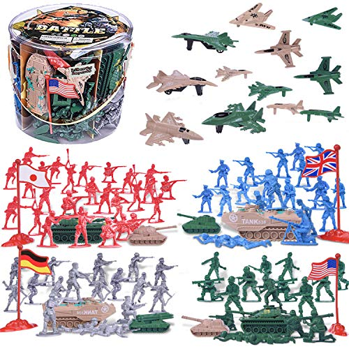 Liberty Imports Army Men Military Action Figures Bucket Playset - 124-Pieces World War II Toy Soldiers Combat Special Forces (Soldiers and Vehicles)