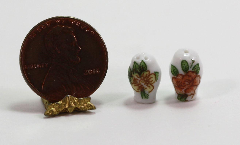 ドールハウスミニチュア花柄セラミックSalt & Pepper Shakers秋に色トリムでゴールド