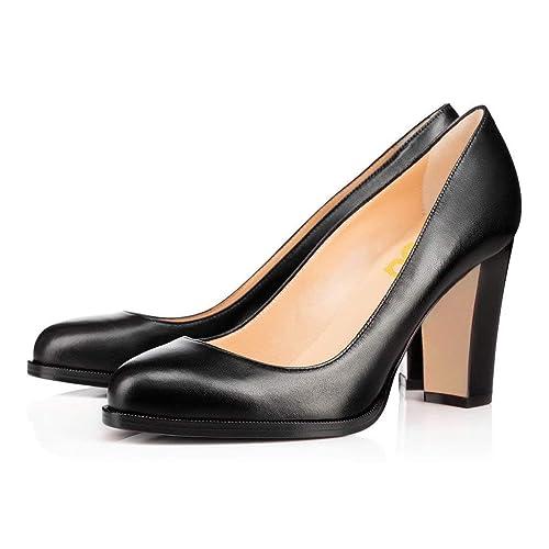 5f4740d0f09d7 FSJ Women Formal High Heel Pumps Close Toe Slip On Business Shoes for  Office Lady Size 4-15 US