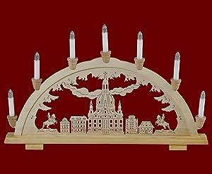 """Arco luci arco candeliere Monti Metalliferi """"Frauenkirche Dresda"""" decorazione tradizionale 7flammig decorazione natalizia (83145)"""