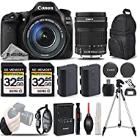 Canon EOS 80D Wi-Fi Full HD 1080P Digital SLR Camera + Canon 18-135mm IS STM Lens + 64GB Storage + Extra Battery. All Original Accessories Included - International Version