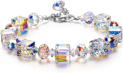 Susan Y Pulsera Mujer, Pequeño Romance Joyería Mujer, Aurora Boreal Cristales de Swarovski, Exquisito Joyero, Mejor Regalo de Joyería para Mujeres Niñas Novia Mamá