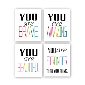 "Typography Watercolor Words Inspirational Quote&Saying Modern Art Print Set  of 4 (8""X10"" Canvas Painting,Motivational Phrases Wall Art Poster for"