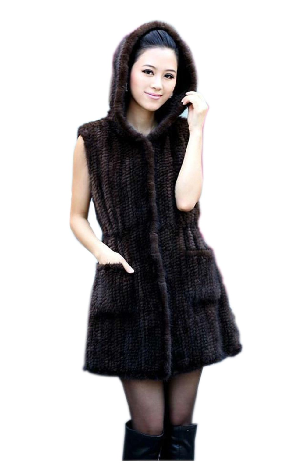 Top Fur Women's Real Mink Fur Knitted Gilet Waistcoat-US 10, Maroon