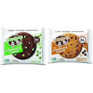 Lenny & Larry's The Complete Cookie, Choco-O-Mint, 16g Plant Protein, 4 Ounce Cookie (Pack of 12) & The Complete Cookie, Peanut Butter Chocolate Chip, 2 Ounce Cookies - 12 Count