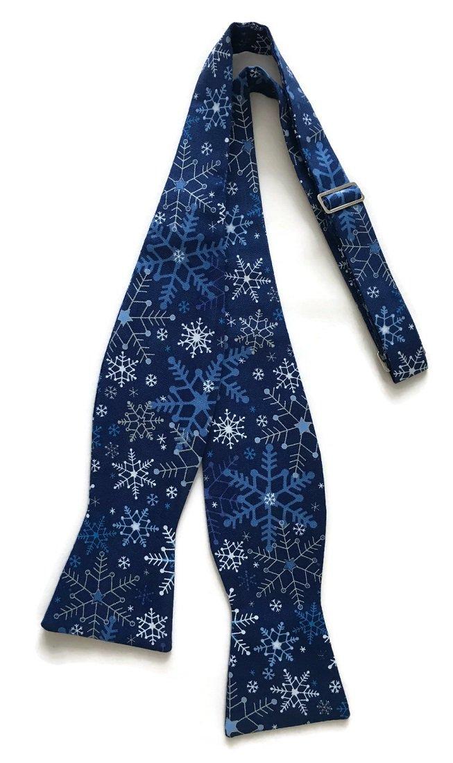 Men's Self-Tie Blue Snowflake Bow Tie with Silver Metallic (Boys)