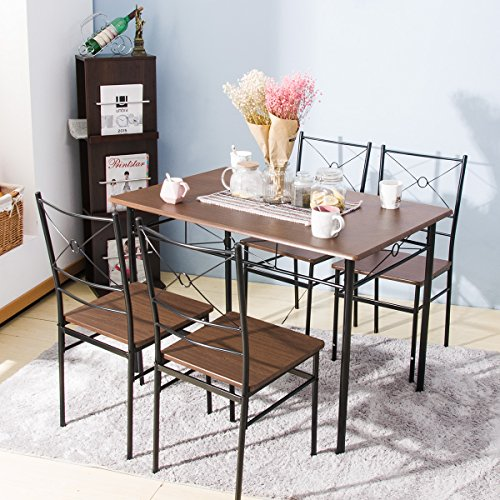 Harper Bright Design 5 pcs Dining Table Set Dining Set Dining Furniture Wood and Metal Home Kitchen Furniture (Walnut)