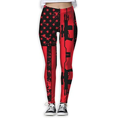 d1c5cf7beab Black Gun American Flag Red Print Non See-Through Fabric High-Waist Fashion Women s  Workout Leggings For Woman at Amazon Women s Clothing store