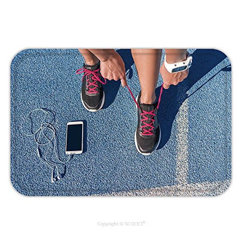 Flannel Microfiber Non-slip Rubber Backing Soft Absorbent Doormat Mat Rug Carpet Runner Woman Tying Running Shoes Laces Getting Ready For Race On Run Track With Smartphone And 428927026 for (Race Use Coupe)