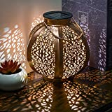Teresa's Collections Hanging Solar Lantern Retro Garden Solar Lights with Handle, Metal Baroque Pattern Waterproof Lamp for Patio,Outdoor or Table Decorations, 7 Lumens(Gold)