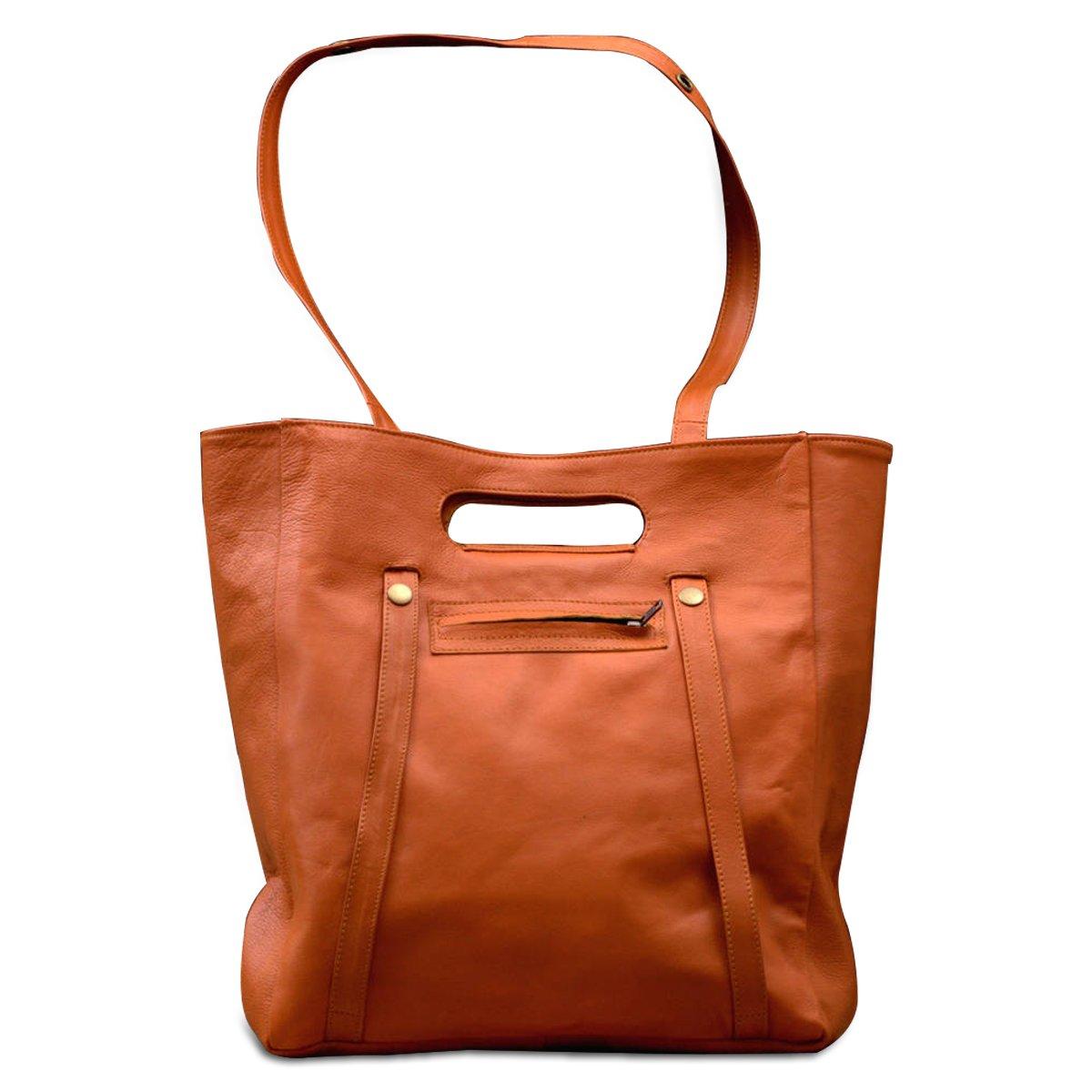 MONT5 Large Tan Leather Tote Handbag   Leather Purse   Ladies Shoulder Tote