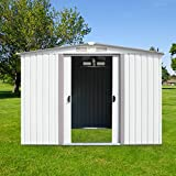 Kinbor New 8' x 6' Outdoor White Steel Garden Storage Utility Tool Shed Backyard Lawn Building Garage w/Sliding Door