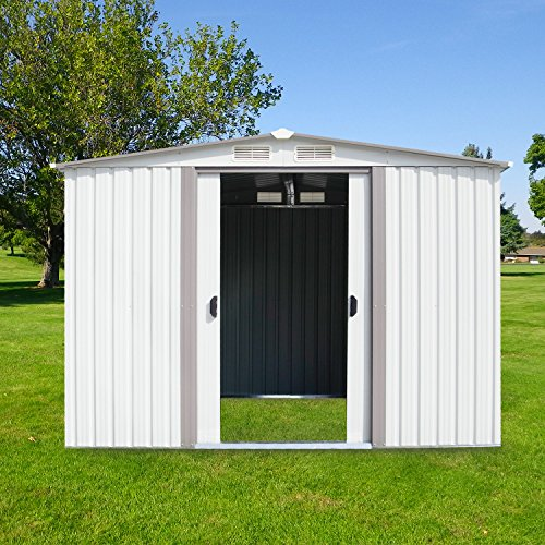 Kinbor New 8' x 6' Outdoor White Steel Garden Storage Utility Tool Shed Backyard Lawn Building Garage w/Sliding Door by Kinbor