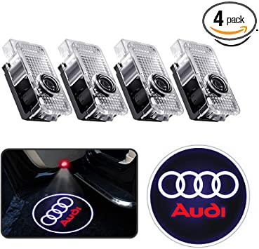 2 Pack LED Auto Door Courtesy Step Projector Lights for Audi A1 A3 A4 A5 A6 A8 A6L A4L R8 TT Q7 Q5 Car Door Projector Logo Ghost Shadow Light