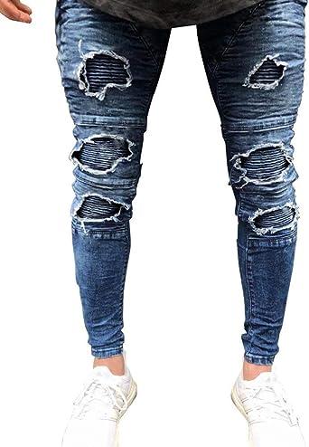 Pantalones De Mezclilla Para Hombre Slim Fit Strech Moda Flaco Vintage Destruido Agujeros Chern Denim Jeans Pantalones Amazon Es Ropa Y Accesorios