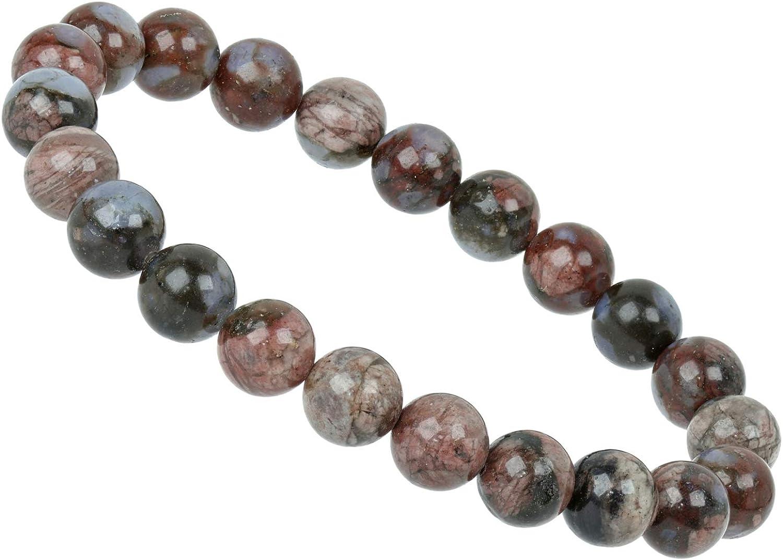 ELEDORO PowerBead - Pulsera elástica para Mujer, Perlas de Piedras Preciosas, 8 mm, 17-18 cm, ópalo Africano