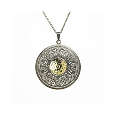 6e1f902e56157 Image Unavailable. Image not available for. Color  Boru Celtic Warrior  Pendant Large Sterling Silver   18K Gold ...