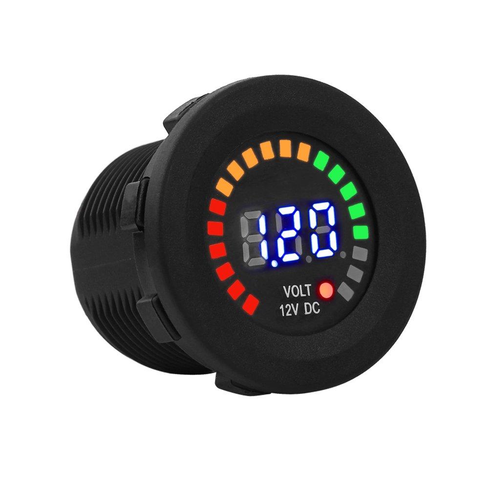 Fealay Motorcycle Tachometer Meter Gauge 12 V Led Digital Display Voltmeter Waterproof Voltage Volt Meter Gauge Black New
