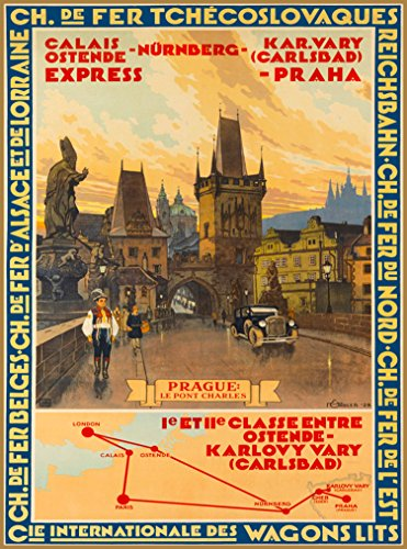 A SLICE IN TIME Praha Prague Le Pont Charles Czech Republic Europe European Vintage Travel Advertisement Art Collectible Wall Decor Poster Print Measures 10 x 13.5 inches